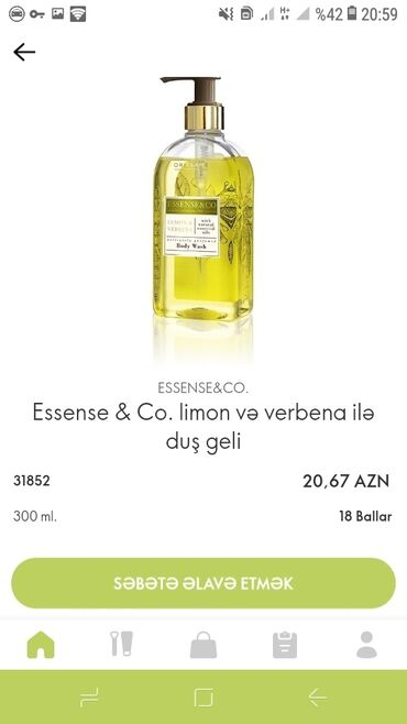 женские кофты с ушками в Азербайджан: Essense &Co.limon və verbena ilə duş geli