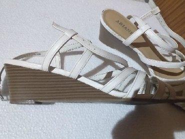 Sandale bele,prelepe na platformu, velicina 40 - Batajnica