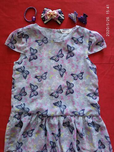 Блузка (заколки в подарок)На 5-7 лет (128 см).Можно как туникуЛёгкая