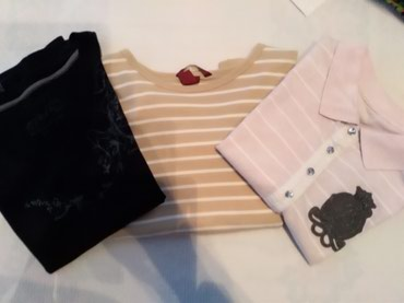 Tri majice za devojcice, uzrast 10-12g. Dve kratki i prugasta dugi - Prijepolje