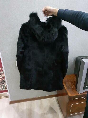Шуба черная (кролик), 48 размер