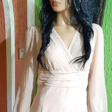 Puder roza haljinica sa cirkonima,ima elastina vel m,nova