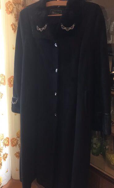 Пальто-шуба на меху искусствен размер л/хл динное черное