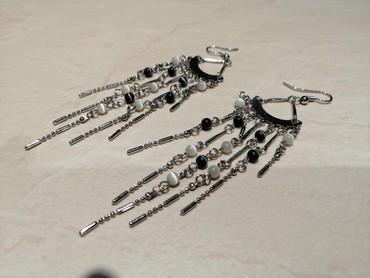 Σκουλαρίκια σε ασημί και ασπρόμαυρες αποχρώσεις. Άριστα. σε Nea Smyrni