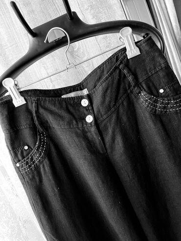 Брюки летние, легкие, свободные, прямые, чёрные, лён, в идеальном