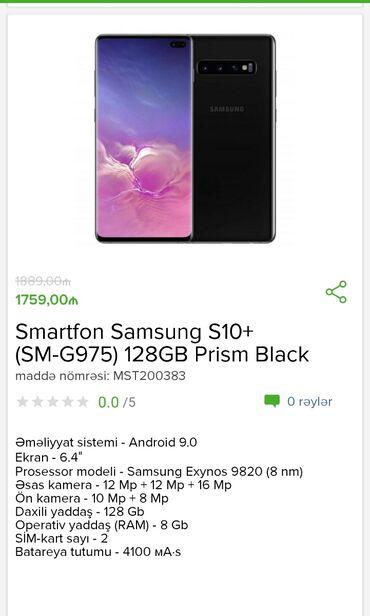 Samsung-p960 - Azərbaycan: Smartfon Samsung s 10 + 128 gb Black Cəmi 1759 azn Tam zəmanətlə +