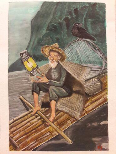 kagiz - Azərbaycan: Asiyalı Balıqçı . A4 ölçüsünde kağız üzerine guaş boya ile tablo