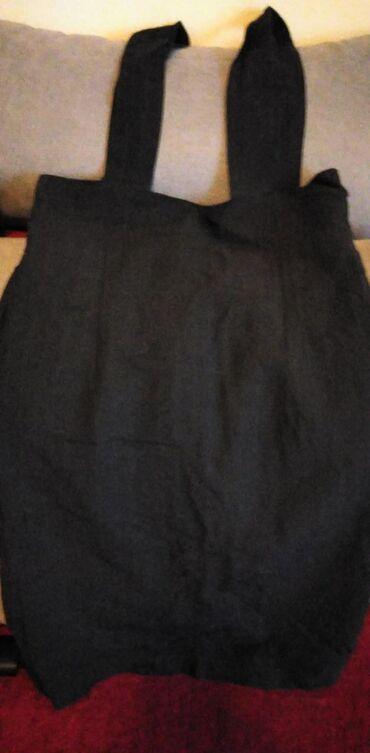 Suknja, visoki struk, crna sa nežno plavim prugama, vel S-M