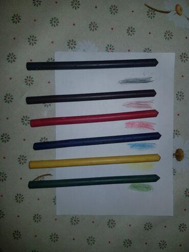 Продаю акварельные советские карандаши для рисования, 6цветов- чёрный