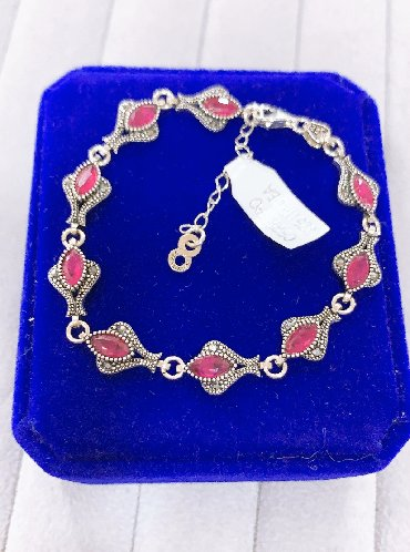 серебро оптом из турции в Кыргызстан: Новый серебряный браслет из Рубина (циркониевые) Самый лучший подарок