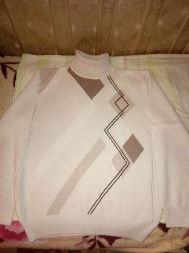 Свитер нарядный,шея закрыта,,белый цвет с коричневым,недорого 500сом