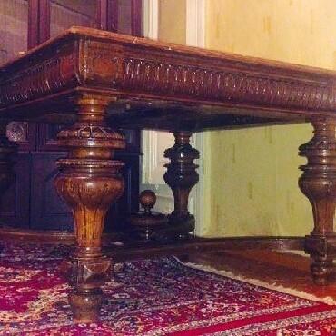 antik maşın - Azərbaycan: Qoz agacından 48ci illerin,naxışları el işi antik stol,açılanda 4 metr
