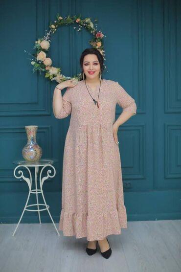 платья из штапеля бишкек в Кыргызстан: Платья  размеры:50-56  ткань штапель  есть доставка