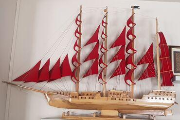 Корабль- ручная работа длина 1.30м, высота 1,0м. Состояние отличное
