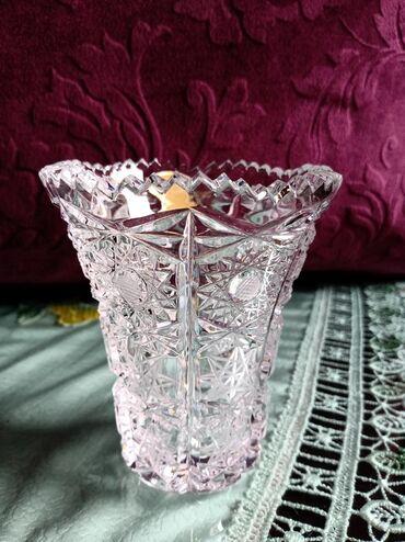 Kristalna nova vaza Jugoslavija. visina. 9,5cm. precnik