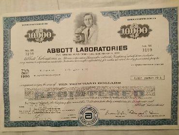Certina - Srbija: ABBOTT sertifikat na 10000USDOriginal certifikat akcija ABBOTT na