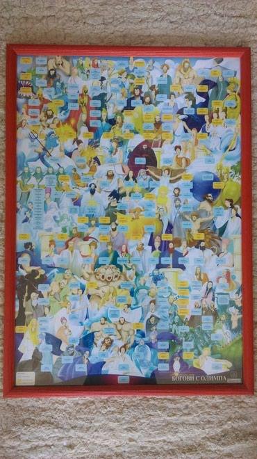 Svi bogovi sa olimpa, rodoslovno stablo, uramljen poster, 50 x 70 cm, - Belgrade