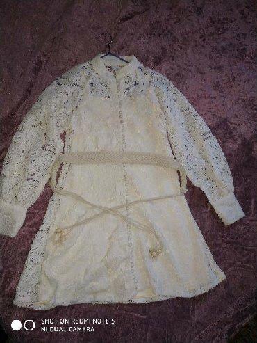кружевное платье большого размера в Кыргызстан: Красивое кружевное бежевое платье до колен, размер 42-44