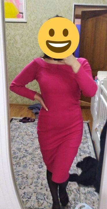 трикотаж платье в Кыргызстан: Малиновое трикотажное платье