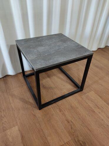 Журнальный столик 50х50х45 цемент ТЕМНЫЙ  Эмерек 312 Мебель Стол Лофт