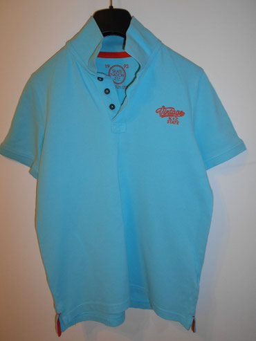 Majica-decija - Srbija: Plava muska decija majica sa polo kragnom, pamuk. visina 146/152 cm