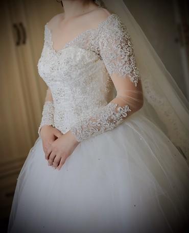 платье из кружева в пол в Кыргызстан: Свадебное платье!Дорогие девушки! Шикарное, полностью ручной работы