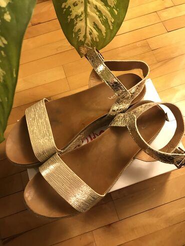Safran zlatne sandale visina platforme 5cm veličina 41