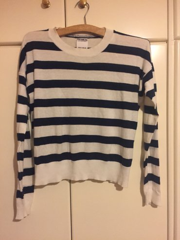 White long sleeved navy blue striped blouse.Worn twice, excellent cond в Agia Varvara