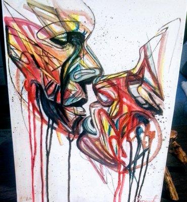 Slika `Poljubac` radjena je uljem na platnu, dimenzije 40 x 30 cm, - Beograd