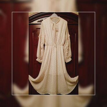 цвет нежный платье цвет в Кыргызстан: Новое платье шифон! Очень нежное модное и красивое ! В горошек, цвет