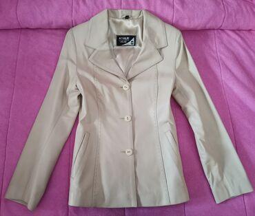 Slonovaca - Srbija: Nova kožna jakna- sako, boja slonove kosti, veličina XS. Baš mekana