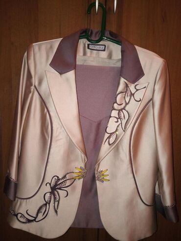 Натуральный турецкий атлас! Женский костюм тройка (пиджак,маечка,юбка)