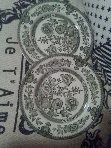 Tanjiri veliki engleski porcelan,dva komada,zeleni - Sombor