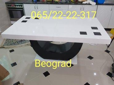 Sto i6 stolica u crno beloj varijanti modernijeg dizajna, na - Belgrade