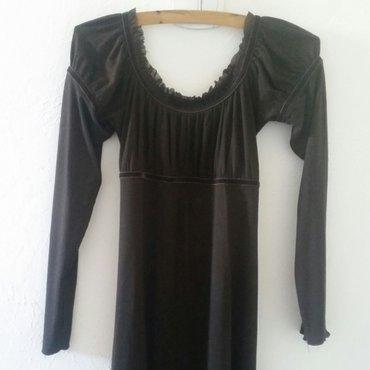 Prelepa italijanska midi haljina, cokoladno braon. Viskoza/elastin. L - Ruma