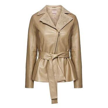 Faberlic Куртка из экокожи с кружевом цвет пудровый размер 50