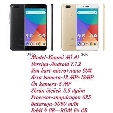 Gəncə şəhərində Xiaomi mİ a1 rəng - qara ram 4 gb rom 64 gb  telefon təzədir barter yo