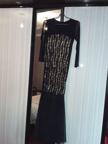 Платья в Ак-Джол: Вечернее платье с гюпюровыми рукавами и с золотистыми блесками