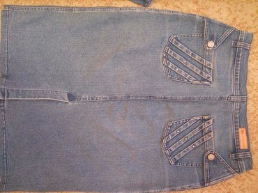 М р. - Джинсовые жакет + юбка + брюки, светло синего цвета. Жакет