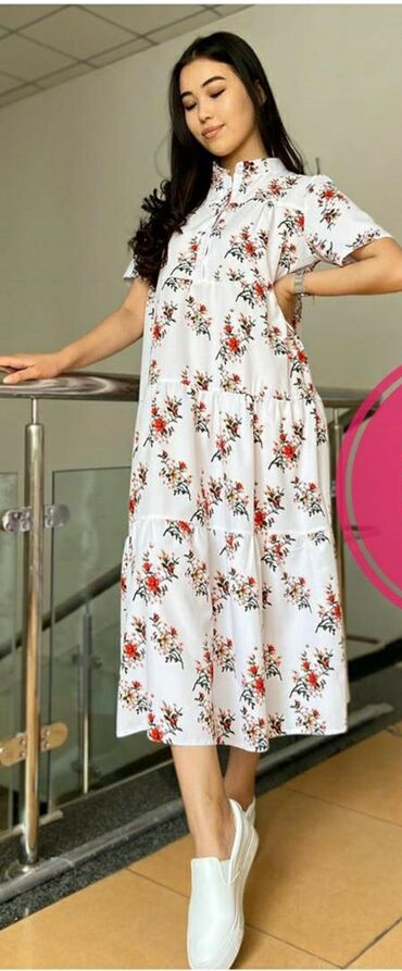 Новое Платье оверсайз штапель длина ниже колен размер написано 48