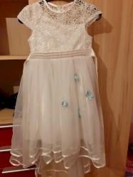 Детский мир - Сокулук: Белое бальное платье для самых нежных девочек с голубыми цветочками