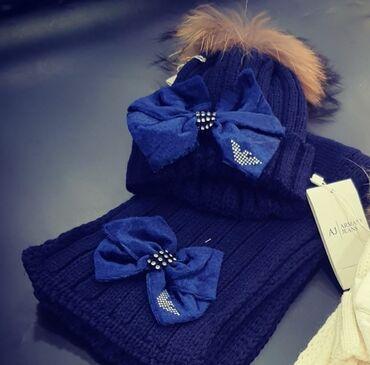 шапки и варежки в Кыргызстан: В наличии шикарные комплекты,шапка+шарф, для мальчиков и девочек . С