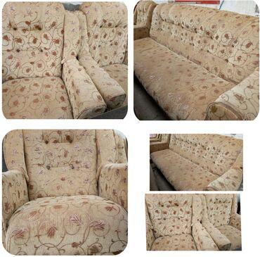2ci əl divan və kreslo divan bazalıdır açılır materialı parçadır