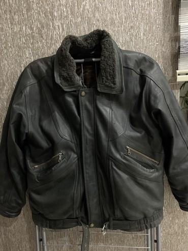Коженая куртка, зимняя, подстежка из кролика, размер 54,56 из