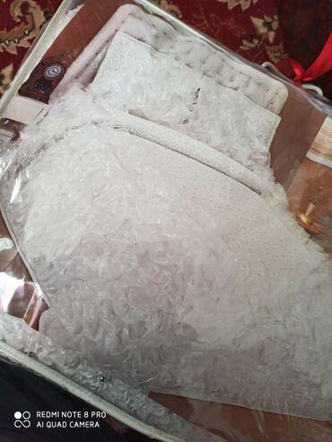 Двух спальное покрывало новое белого цвета