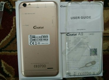 Gretel A6 батарея:2300 4Gловит память 2+16 в комплекте: чехол, з,пленк в Кара-Балта