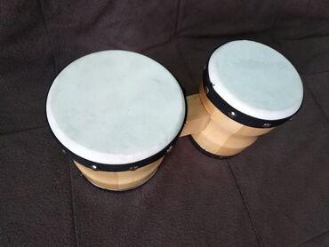 Ostali muzički instrumenti | Srbija: Bongos, koža - NOVONikada svirani bongos. Drvo prelakirano, membrana