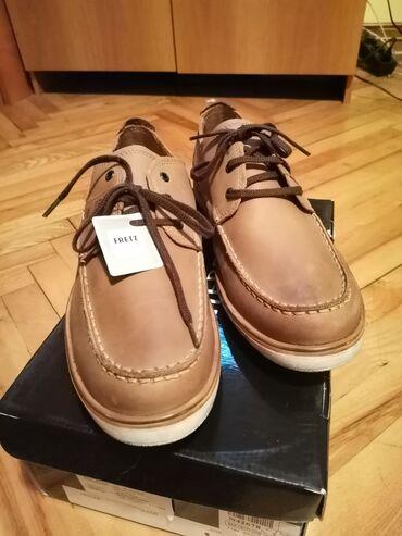 Braon kožne cipele muške, nikad nošene, potpuno nove. Broj 44. Prava