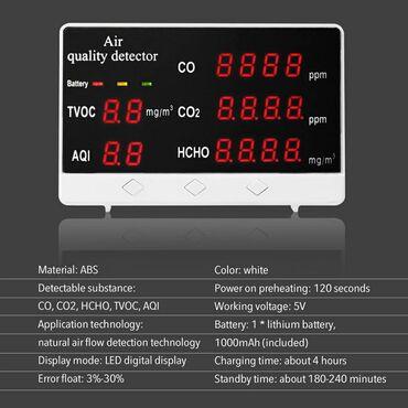 Hava hokkeyi - Azərbaycan: Rəqəmsal hava detektoru.Göstəriciləri:- CO- CO2- TVOC- AQI- HCHO- Usb