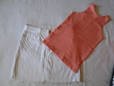 Prelepa i kvalitetna bela teksas suknja + majica. Suknja je veličine